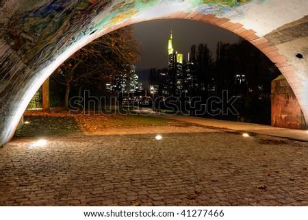 Frankfurt skyline by night. Business district. - stock photo