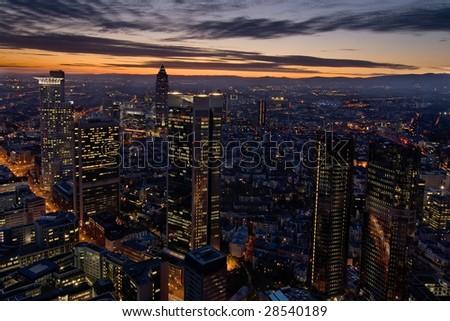 Frankfurt skyscrapers by night - stock photo