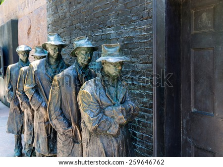 Franklin Delano Roosevelt Memorial in Washington Great Depression sculpture - stock photo
