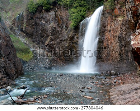 Franklin Falls, a Waterfall in the Pacific Northwest - stock photo