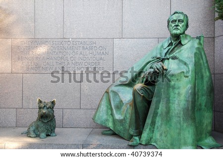 Franklin Roosevelt Memorial statue with dog Fala - stock photo
