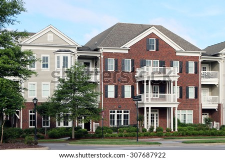 FRANKLIN, TN-AUGUST, 2015:  Condominium homes in an upscale development in Tennessee.