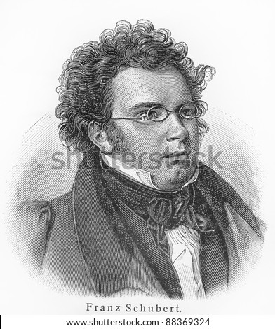 Franz Schubert - Picture from Meyers Lexicon books written in German language. Collection of 21 volumes published between 1905 and 1909. - stock photo