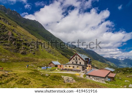 Franz Sen Hut, Stubai Alps, Austria-July 15, 2008: A very popular, large, well-appointed alpine refuge, owned by the Austrian Alpine Club, Neustift village, Stubai valley, Tyrol