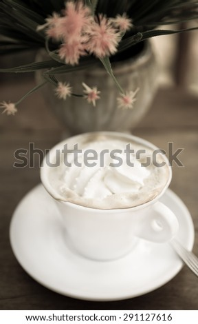 Frappuccino Coffee, Cup of Coffee with Cream, vintage style - stock photo
