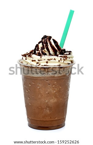 Frappuccino coffee with whipped cream in takeaway cup on white background  - stock photo