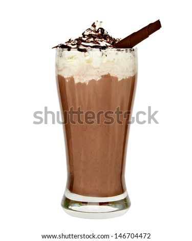 Frappuccino in tall glass with cream, chocolate sauce and curl on white background - stock photo