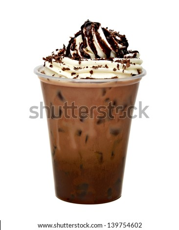 Frappuccino with ice in take away cup on white background - stock photo