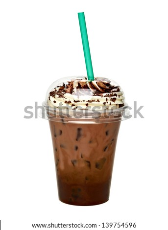 Frappuccino with ice in takeaway cup on white background - stock photo