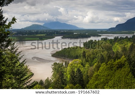 Fraser River Valley. The Frazier River is an important salmon habitat for the lower mainland of British Columbia. A lovely scenic river. - stock photo