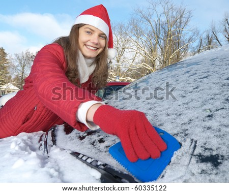 Frau, Winter, Auto - stock photo