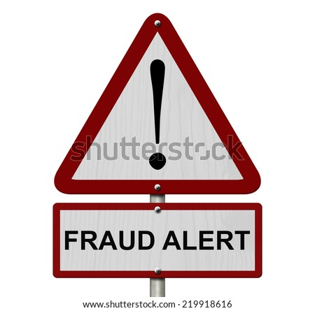 Fraud Alert Caution Sign, Red and White Triangle Caution sign with words Fraud Alert isolated on a white background - stock photo