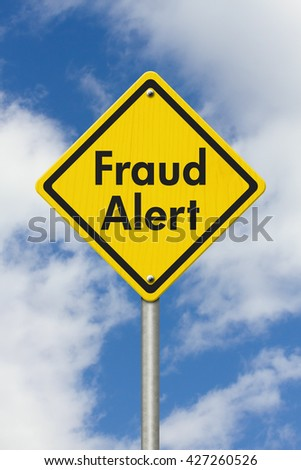 Fraud Alert  yellow warning highway road sign, Yellow warning highway sign with words Fraud Alert with sky background,3D Illustration