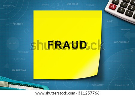 Fraud text on yellow note with graph paper - stock photo