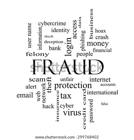 Fraud Word Cloud Concept in black and white with great terms such as alert, identity, theft and more. - stock photo