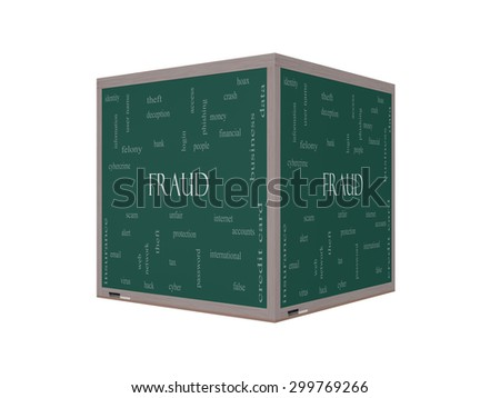 Fraud Word Cloud Concept on a 3D Blackboard with great terms such as alert, identity, theft and more. - stock photo