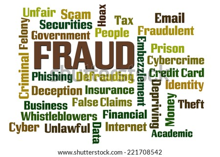 Fraud word cloud on white background - stock photo