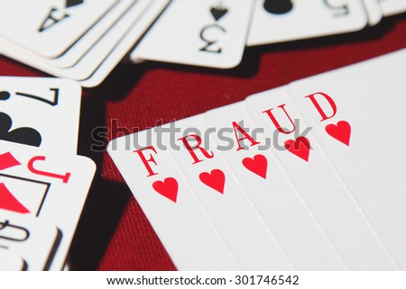FRAUD word written on card - stock photo