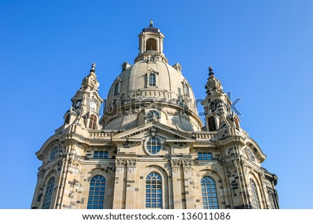 Frauenkirche Dresden Saxony Germany from underneath - stock photo