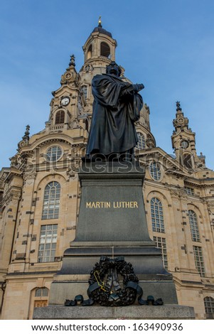 Frauenkirche in Dresden Germany with the Martin Luther memorial - stock photo