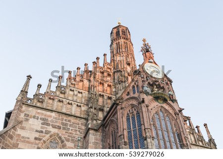 Frauenkirche in Nuremberg with the sky, Bavaria, Germany