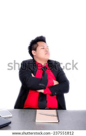 freak out of stressed manager sleeping at the office - stock photo