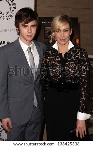 Freddie Highmore, Vera Farmiga at Bates Motel: Reimagining A Cinema Icon, Paley Center for Media, Beverly Hills, CA  05-10-13
