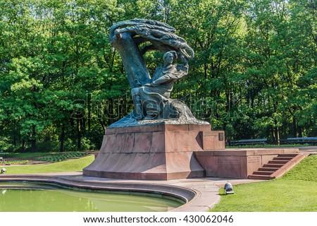 Frederic Chopin monument in Lazienki Park. Warsaw. Poland. - stock photo
