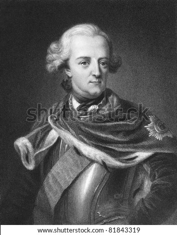 Frederick II (1712 -1786). Engraved by E.Scriven and published in The Gallery Of Portraits With Memoirs encyclopedia, United Kingdom, 1833.