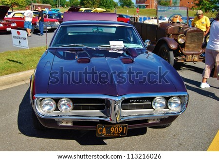 FREDERICK, MD- SEPTEMBER 16: A 1967 Pontiac Firebird at a Car Show on September, 2012 in Frederick , MD USA.  Alzheimer's Association Benefit Car Show at  Motor Vehicle Administration in Maryland.
