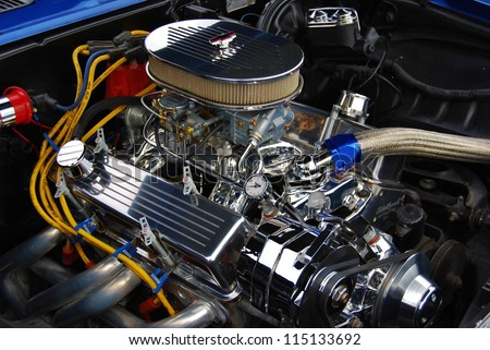 FREDERICK, MD- SEPTEMBER 16: 1969 Blue Chevy SS 350 Motor Engine on September 16, 2012 in Frederick , MD USA. Alzheimer's Association Benefit Car Show at Motor Vehicle Administration in Maryland - stock photo