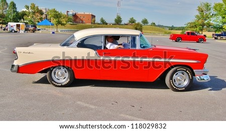 FREDERICK, MD- SEPTEMBER 16: 1956 Chevrolet Bel Air on Sept. 16, 2012 in Frederick , MD USA. Alzheimer's Association Benefit Car Show at Motor Vehicle Administration in Maryland. - stock photo