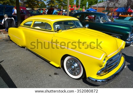 FREDERICK, MD- SEPTEMBER 16: 1951 Chevy Fleetline at a Car Show on September 16, 2015 in Frederick , MD USA. Alzheimer's Association Benefit Car Show at Motor Vehicle Administration in Maryland.