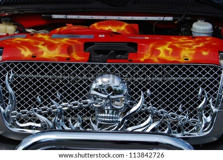 FREDERICK, MD- SEPTEMBER 16: 2003 Red Chevy Silverado Design Detail on September, 2012 in Frederick , MD USA. Alzheimer's Association Benefit Car Show at Motor Vehicle Administration in Maryland. - stock photo