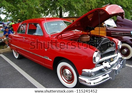 Front quarter view red classic auto stock photo 3509931 for Mountain motors frederick md