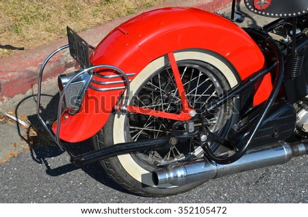 FREDERICK, MD- SEPTEMBER 16: Vintage Motorcycles at a Car Show on Sept. 16, 2015 in Frederick , MD USA. Alzheimer's Association Benefit Car Show at Motor Vehicle Administration in Maryland  - stock photo