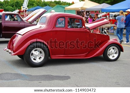 FREDERICK, MD- SEPTEMBER 16: 1933 Willys Model 77 Coupe on Sept. 16, 2012 in Frederick , MD USA. Alzheimer's Association Benefit Car Show at Motor Vehicle Administration in Maryland. - stock photo
