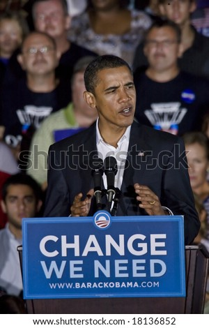 FREDERICKSBURG,VA -   FREDERICKSBURG,VA - SEPT 27: Democratic presidential candidate Barack Obama speaks to supporters at a rally on September 27, 2008 in Fredericksburg, Virginia.