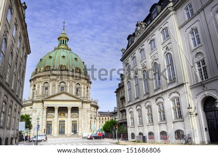 Frederik's Church (Danish: Frederiks Kirke), popularly known as The Marble Church (Marmorkirken) for its architecture, is an Evangelical Lutheran church in Copenhagen, Denmark. - stock photo