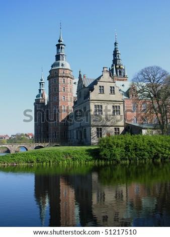 Frederiksborg castle in Hellerod, Denmark - stock photo