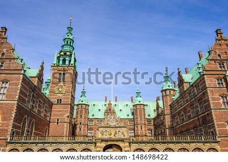 Frederiksborg Palace or Castle, a palace in Hillerod, Denmark. Former royal residence for King Christian IV and now a museum of national history. - stock photo