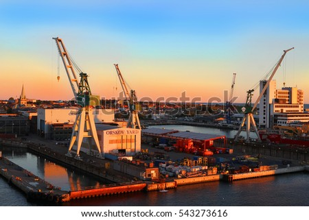 Frederikshavn - Denmark, October 4, 2016: Port of Frederikshavn, Denmark Scandinavia in early morning golden light