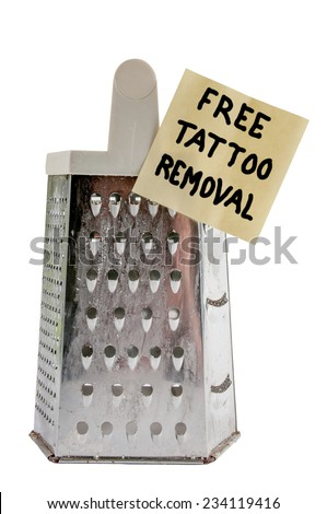 Free cheese grater tattoo remover for the brave - stock photo
