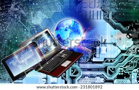 Free computer wi-fi.Generation technology  - stock photo
