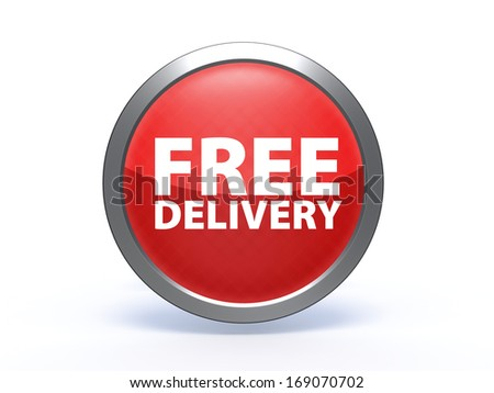 Free delivery circular icon on white background - stock photo