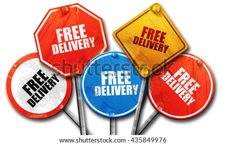 free delivery, 3D rendering, rough street sign collection - stock photo