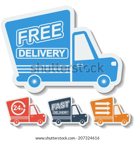 Free delivery, fast delivery colorful icons set with blend shadows. Raster copy. - stock photo
