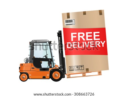 Free delivery. Forklift truck with a huge box on the white background. Raster illustration. - stock photo