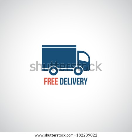 Free delivery icon, symbol car carrying cargo - stock photo