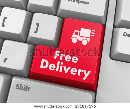 free delivery key on laptop keyboard button, raster - stock photo